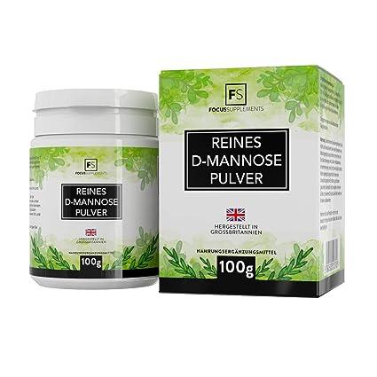 D Manosa Polvo 100% Puro de Focus Supplements | Tratamiento cistitis | Desintoxicación vesical natural | SIN ADITIVOS - Envasado en instalaciones ...