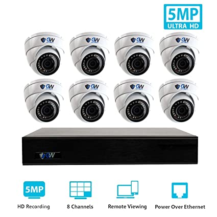 GW Security 9 Channel 4K NVR H 265 Onvif IP Security System with 8 HD IP  PoE 5MP (1920P/1080P) Dome Security Camera