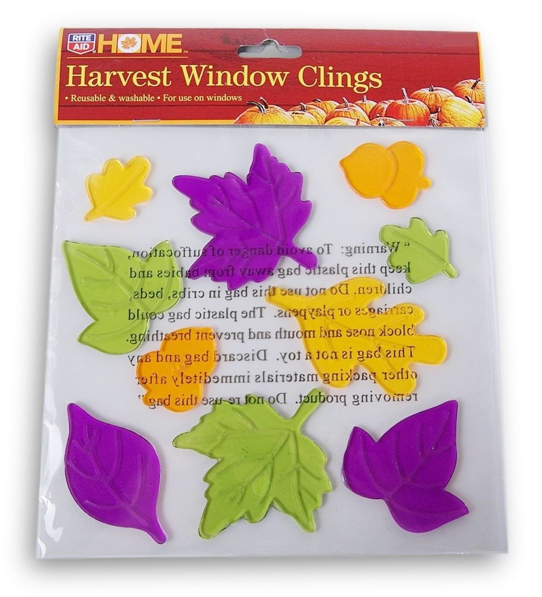 Rite Aid Home Autumn Fall Themed Gel Cling Set - Colorful Leaves - 10 Piece