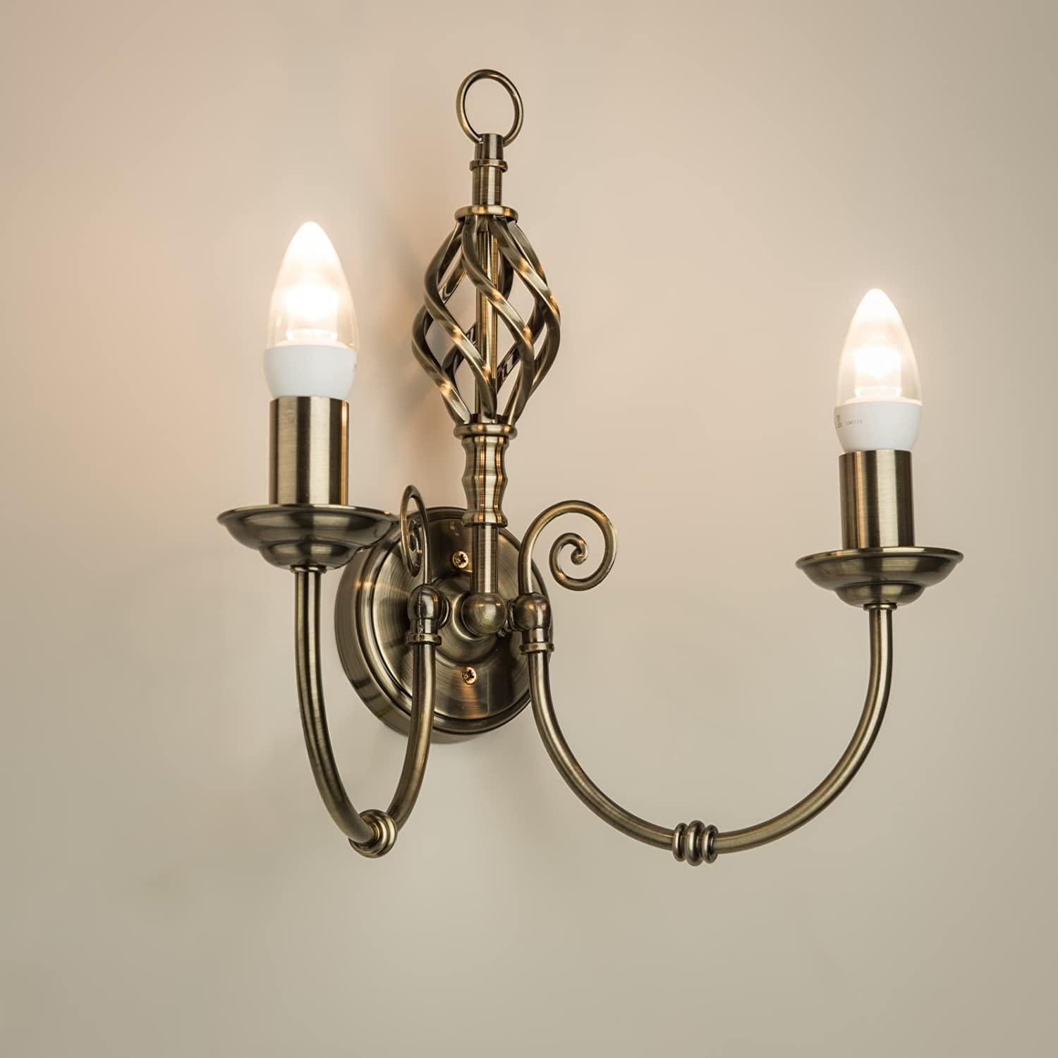Kingswood Barley Twist Traditional Wall Light - Antique Brass Lighting Supermarket AND0017