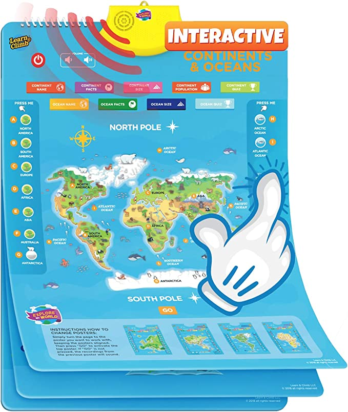 Amazon.es: Learn & Climb Mapa Interactivo del Mundo para niños ...