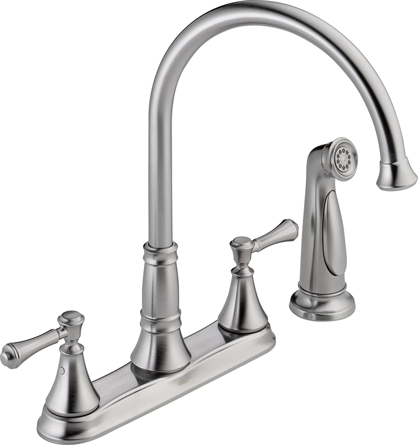delta faucet 2497lf ar cidy two handle kitchen faucet with spray arctic stainless touch on kitchen sink faucets amazon com