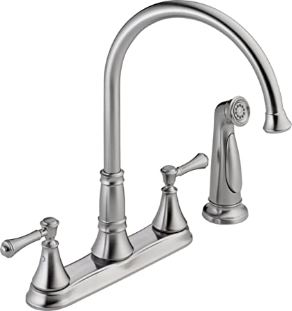 Beau Delta Faucet 2497LF AR Cassidy, Two Handle Kitchen Faucet With Spray,  Arctic Stainless
