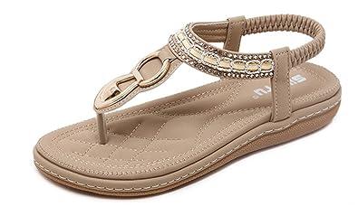 819573ea0ad9f NIGHT-GRING Women s Ankle Strap Sandals Summer Bohemian Diamond Flat Sandals  Clip Toe Flats Flip