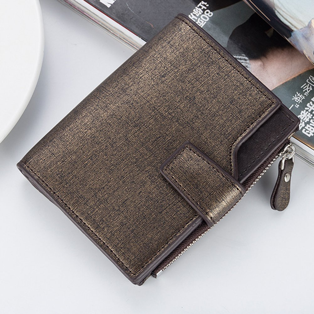 Etbotu Short Wallet,Solid Color High Capacity Short Purse PU Leather,Leisure Business Style for Men