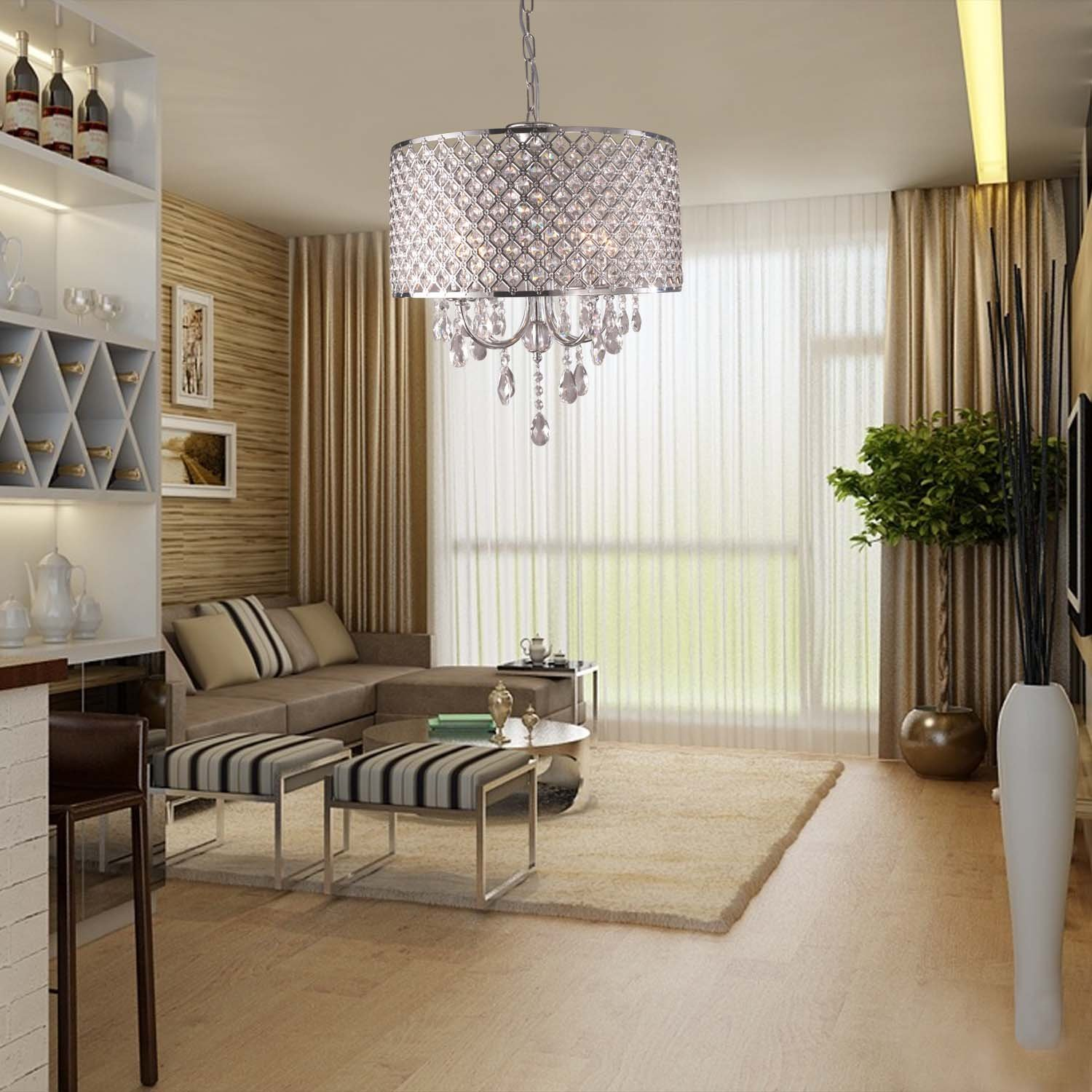 lightinthebox modern chandeliers with 4 lights pendant light with crystal drops in round ceiling light fixture for dining room bedroom chandelier pendant lighting