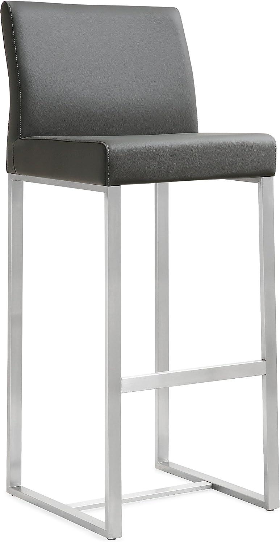 Tov Furniture Denmark Stainless Steel Barstool (Set of 2), Grey