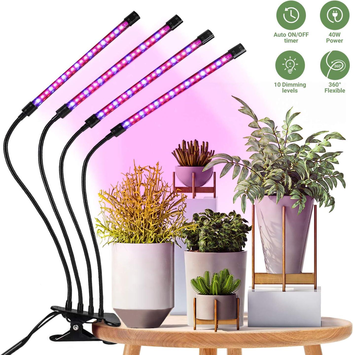 Lampara para Plantas, HOMPO 80 LEDs 40W Lampara Plantas Interior Lampara Colgante Planta con Temporizador Automático 3H/9H/12H para Siembra, Crecimiento, Floración y Fructificación