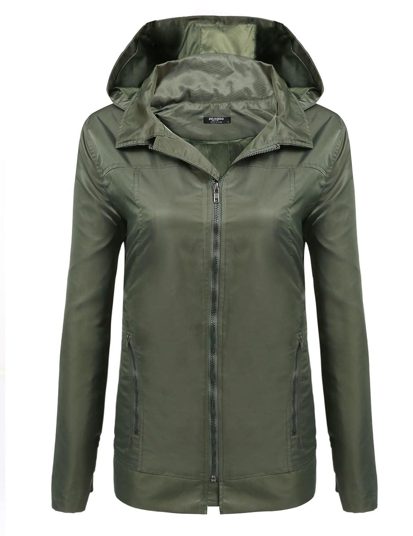 SoTeer Women's Waterproof Lightweight Rain Jacket Outdoor Hooded Raincoat *023237