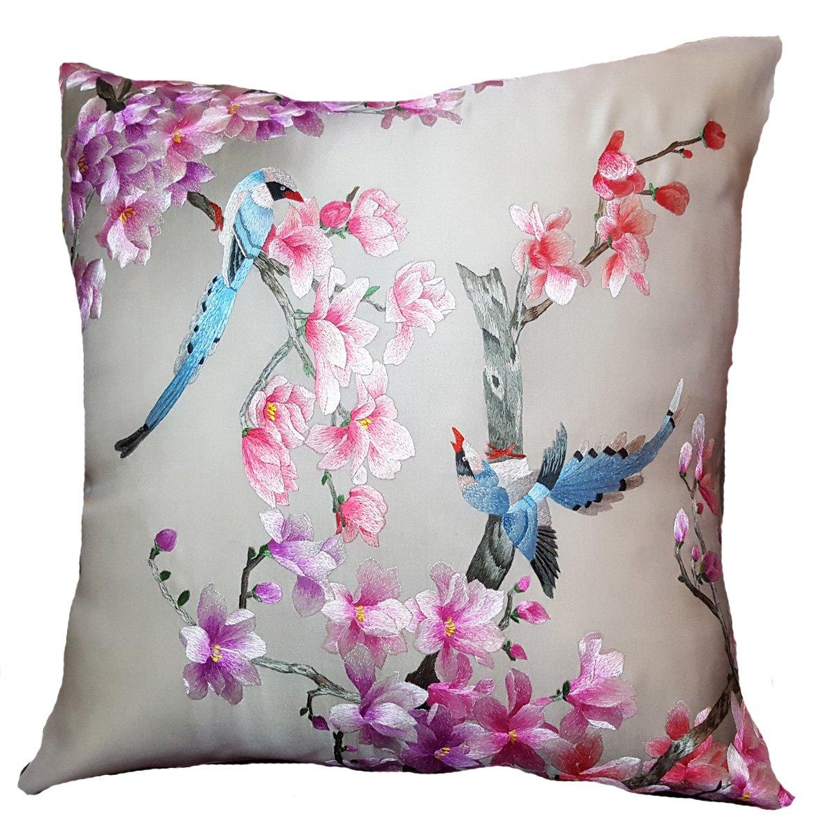 Blues inピンク – シルク刺繍装飾枕 – 20