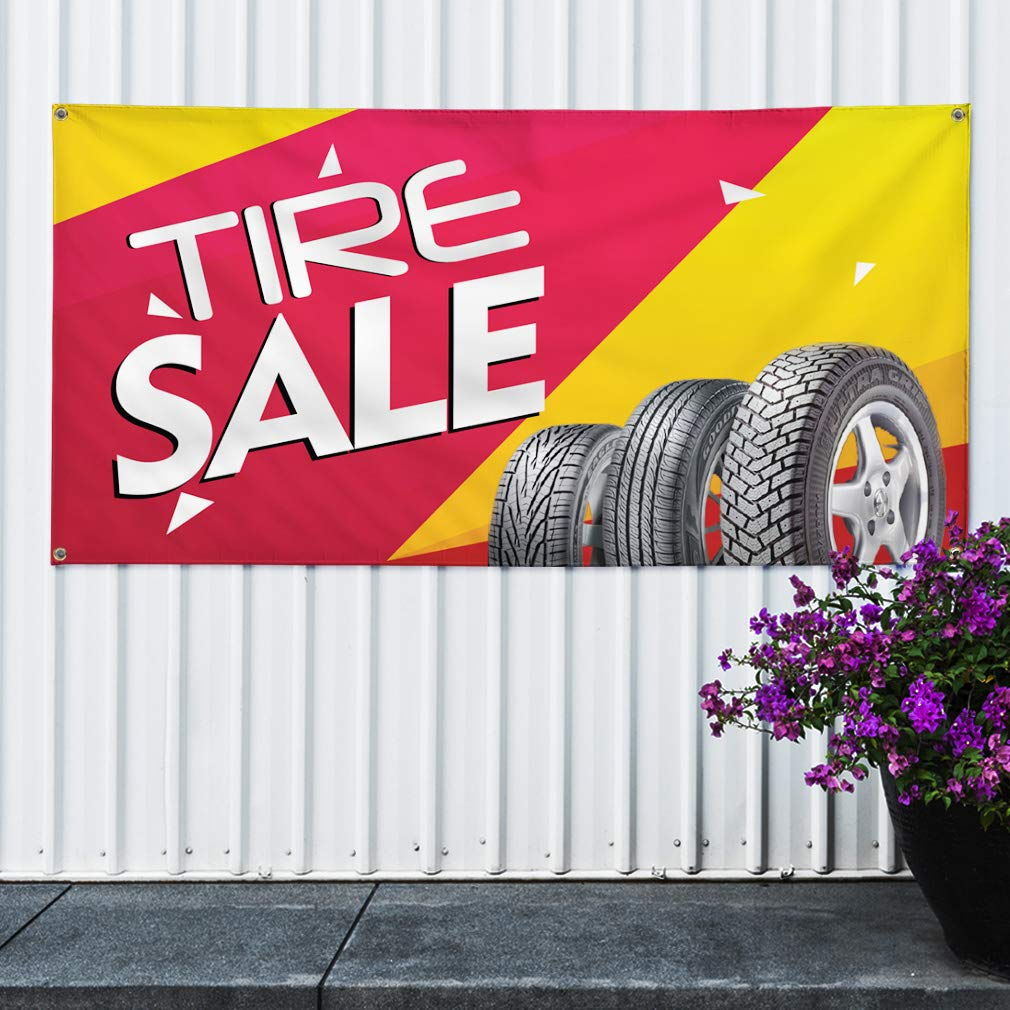 Multiple Sizes Available Vinyl Banner Sign Tire Sale #1 Style C Automotive Tire Sale Marketing Advertising Pink 4 Grommets Set of 2 28inx70in
