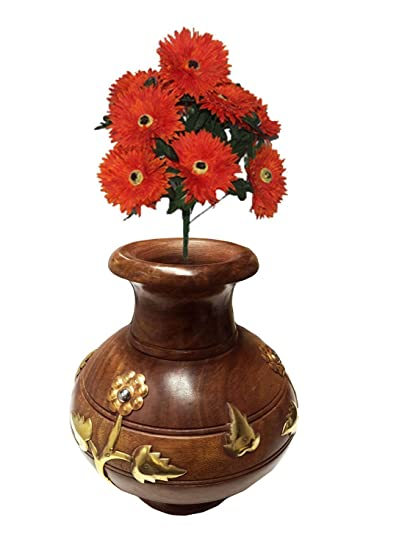 Amazon Handmade Wooden Flower Vase Lota Shape Flower Vase