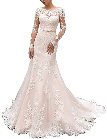 a1c67749e2b0 Women's Lace Long Sleeve Mermaid Wedding Dress Illusion Sash Bridal Gown at Amazon  Women's Clothing store: