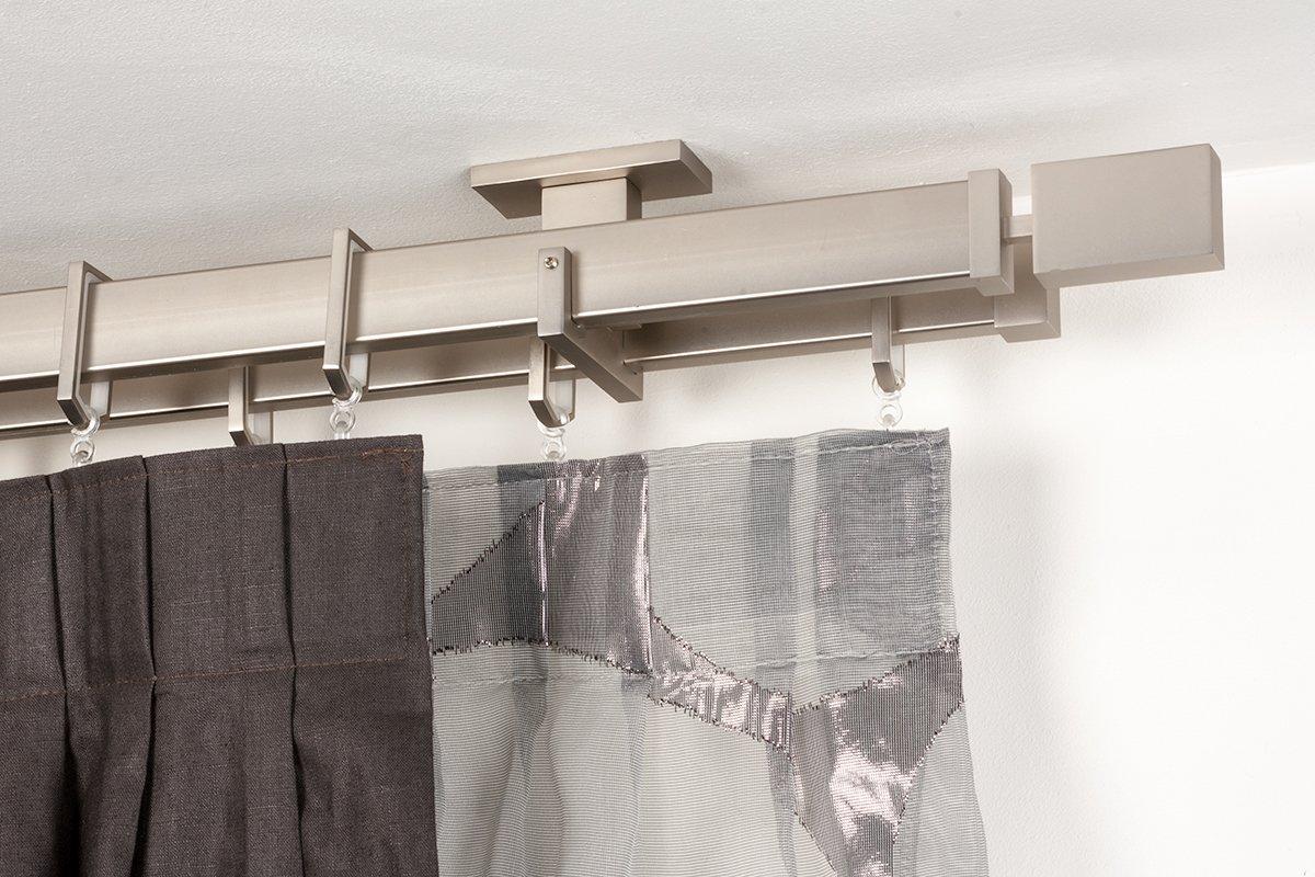 InCasa Bastone doppio per tende 31x12 mm rettangolare, L. 140 cm. in acciaio satinato – completo L. 140 cm. in Acciaio Satinato - Completo Archema Q123/QT/140