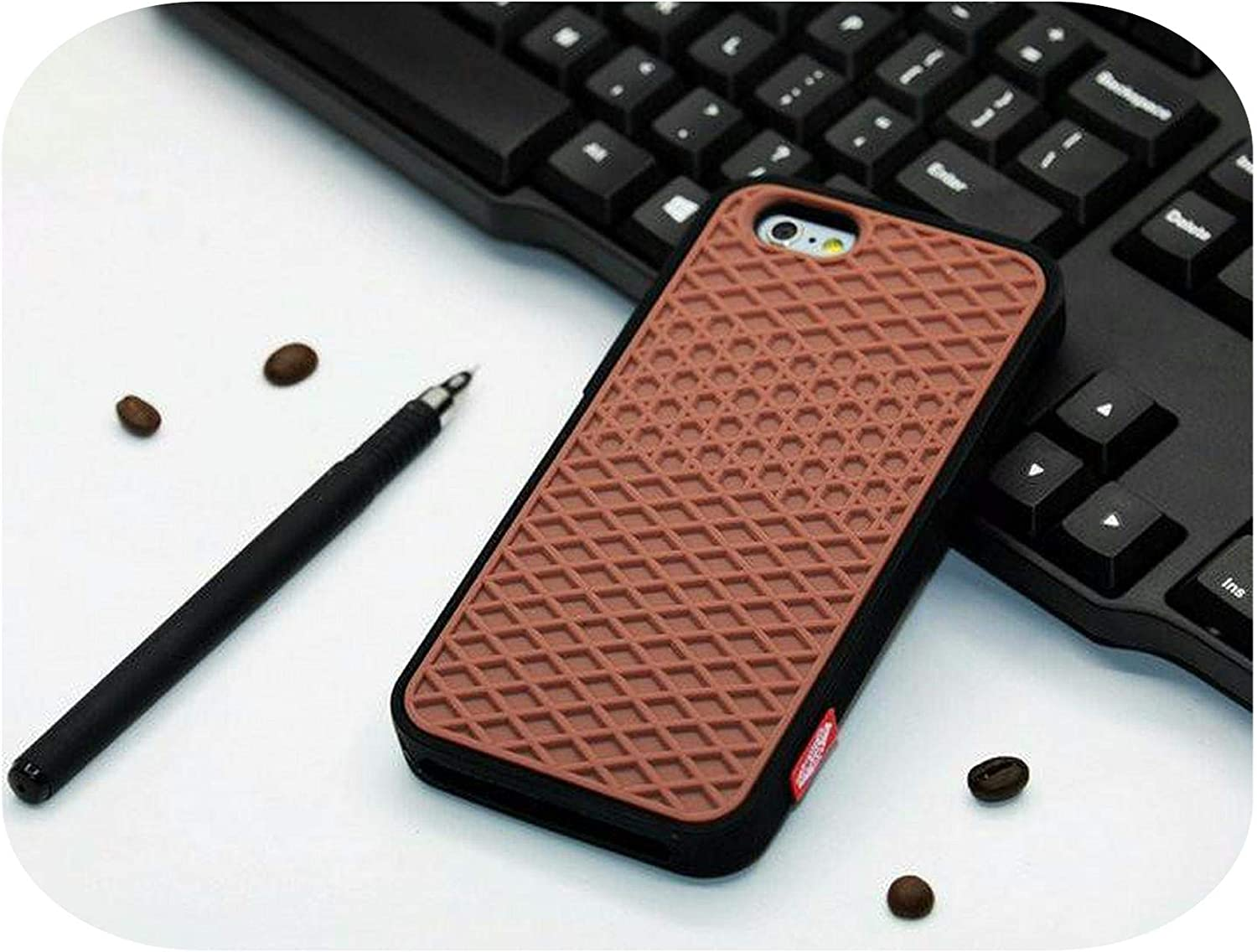 Waffle case Rubber Cover Case for iPhone 11 Pro Max 5S 6 6S 7 8 Plus Xs Max Xr Shoe Sole Phone Case Back Cover-Brown White-for iPhone 11 Pro