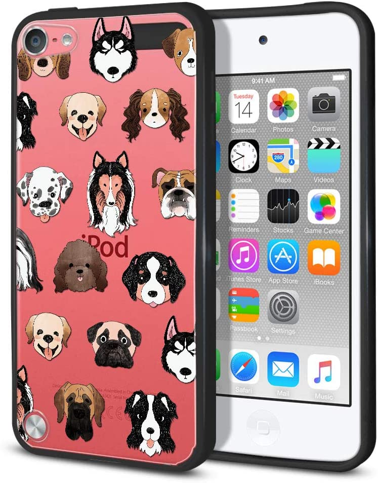 FINCIBO Case Compatible with Apple iPod Touch 5 6 7th Gen 2019, Slim Shock Absorbing TPU Bumper + Clear Hard Protective Case Cover for iPod Touch 5 6 7 - Dog Faces