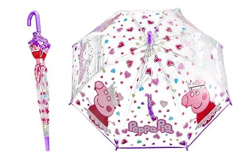 Peppa Pig Paraguas niña largo fantasía violeta PVC trasparente manual Q641