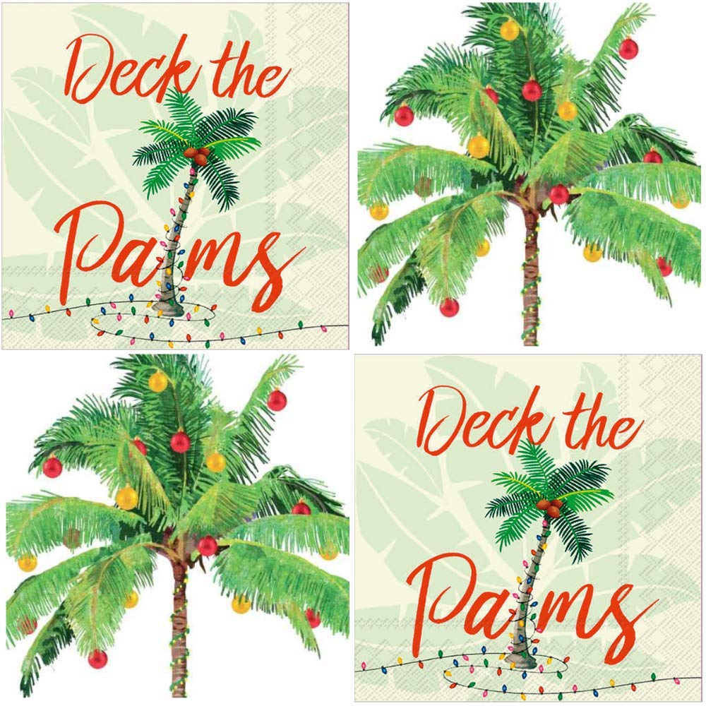 Tropical Palm Trees Beach Island Christmas Cocktail Napkins Funny Assorted Variety Pack Beverage paper napkins assorted 40 count Set