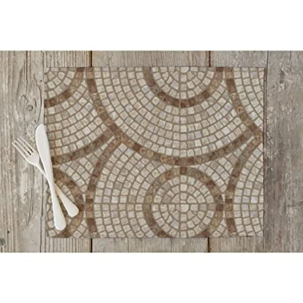 ArtzFolio Brown Marble Mosaic Table Mat Placemat Silk Fabric 15 x 10inch; Single Piece