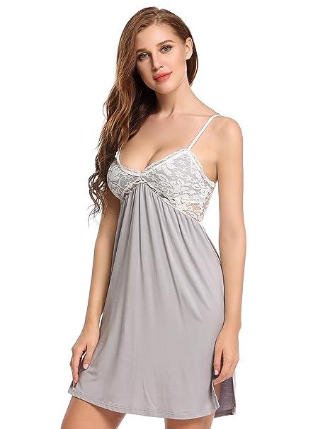 35063ea0b25 Ekouaer Womens Chemise Nightgown Lace Camisole Sleepwear Full Slip  Nightdress S-XXL