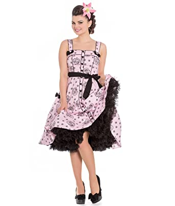 Hell Bunny Keepsake Alchemy Skull 50s Style Pink Dress - UK 10 (S)