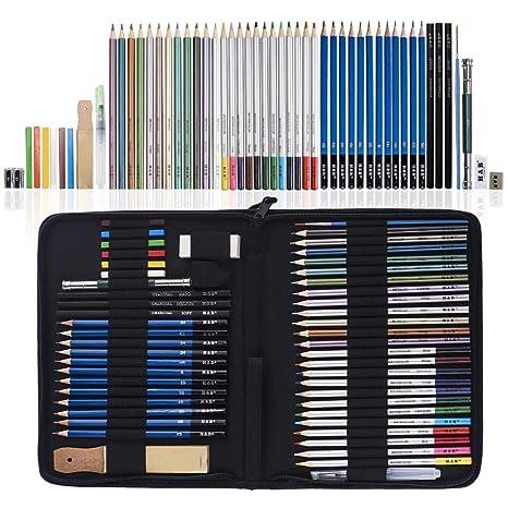 ART JKWL Crayones de 52 Piezas, lápices de Colores y ...