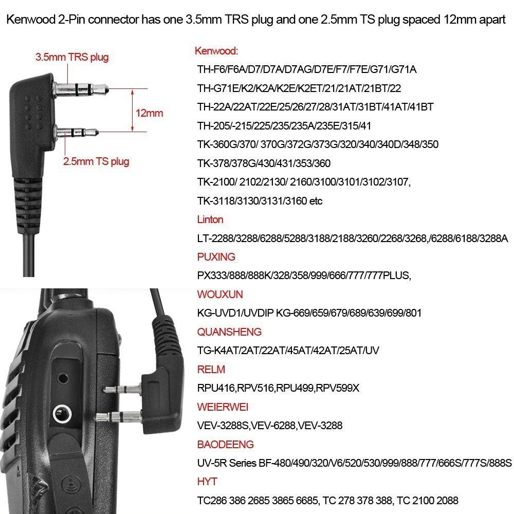 ... Acoustic Tube Walkie Talkie Earpiece – Two Way Radio Earpiece with a  PTT Mic - Compatible with Walkie Talkie Headset Brands (Kenwood, Puxing,  Wouxun, ...