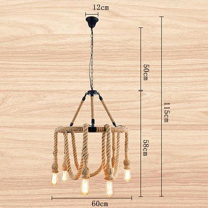 Lámparas Colgantes E27 Retro Hemp Rope 6 Light Chandelier ...