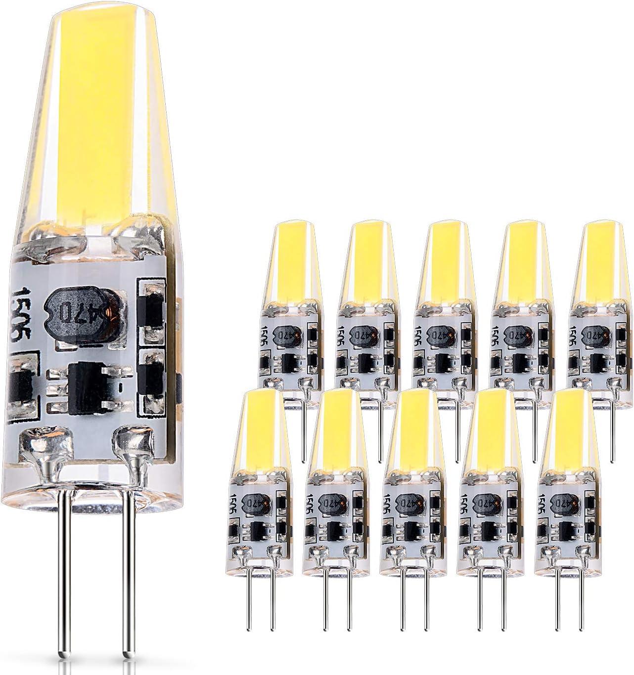 JAUHOFOGEI 10x 2W Mini Bombilla lámpara LED COB G4, 12V - 24V AC DC, Equivalente a 20W Halógena, 210lm, Blanco frío 6000K, Ra83, Non-Regulable