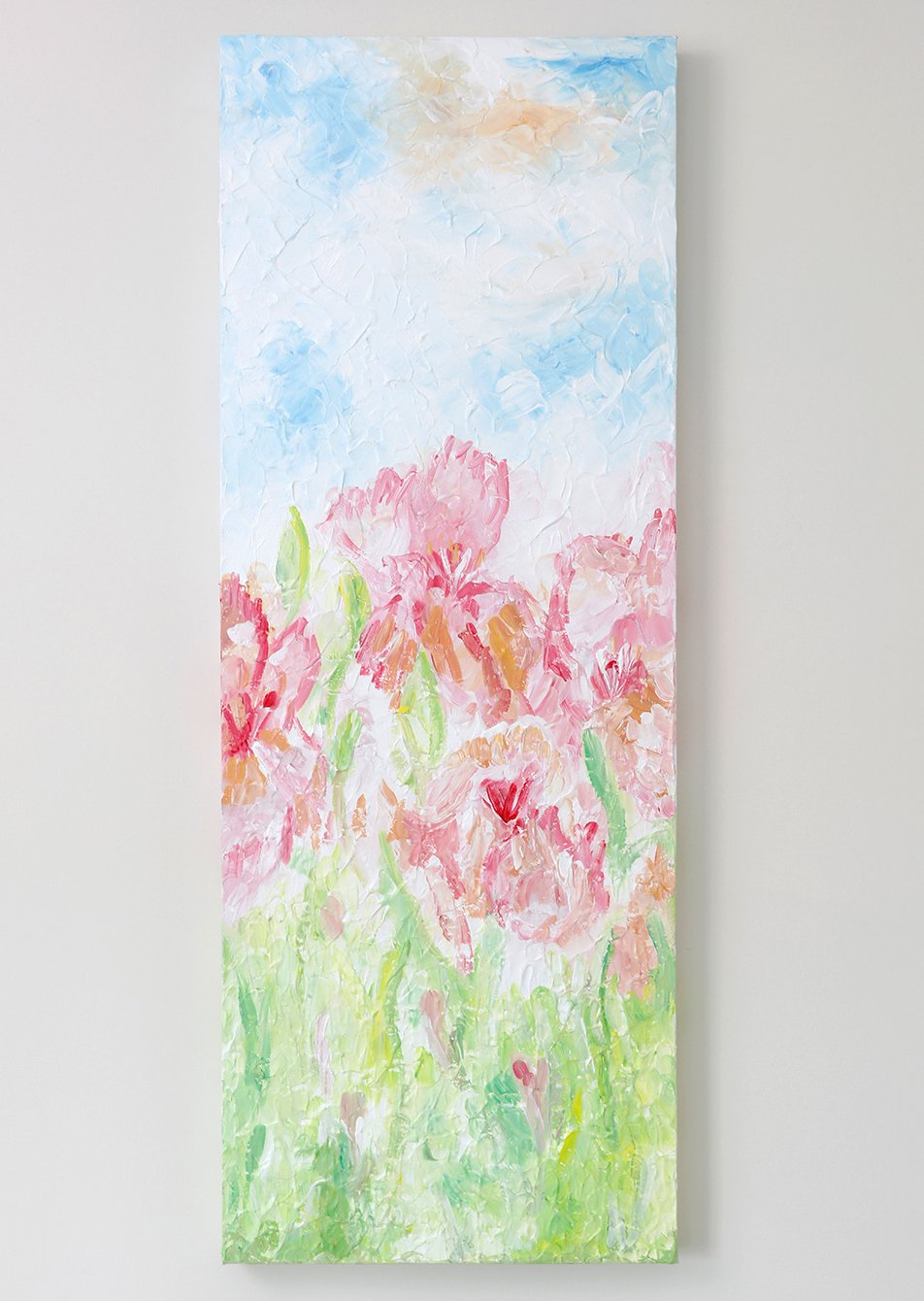 size 80 x 30cm Abstract flowers painting on canvas with texture