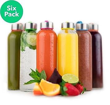 vremi 18 oz botella de agua de vidrio – juego de 6 botellas de cristal (
