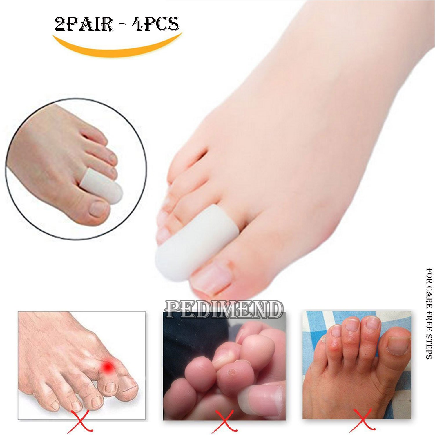 4PCS of Silicone Gel Finger Sleeves Protector by PEDIMEND™ - Toe Caps Protector - Prevents Callus & Blistering – Prevent Rubbing & Irritation – Corn Remover - Toe Nail Proctors - Foot Care