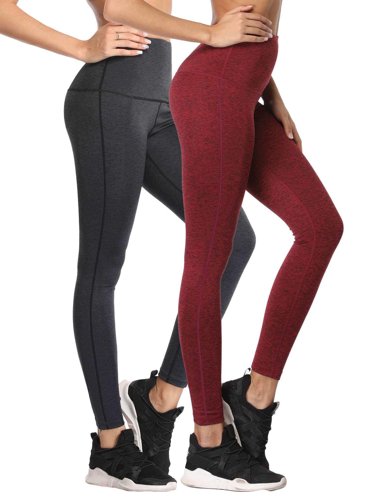 Cadmus Tummy Control Workout Leggings for Yoga Womens,1101,Dark Grey & Wine Red,Small