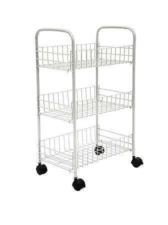 Home-Like 3-Tier Carritos de baño Carro Multiuso para Cocina y baño con Ruedas y 3 cestos Carro de Almacenamiento de utilidades 42x26.2x68cm (Blanco): ...