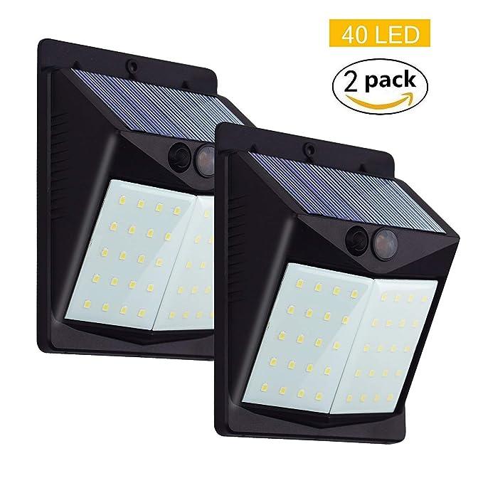 40 LED Foco Solar para Exteriors, Luces Solares 1500mAh Batería, Lámpara Jardin con Sensor de Movimiento de IP65 Impermeable Garaje, Camino, Balcón, ...