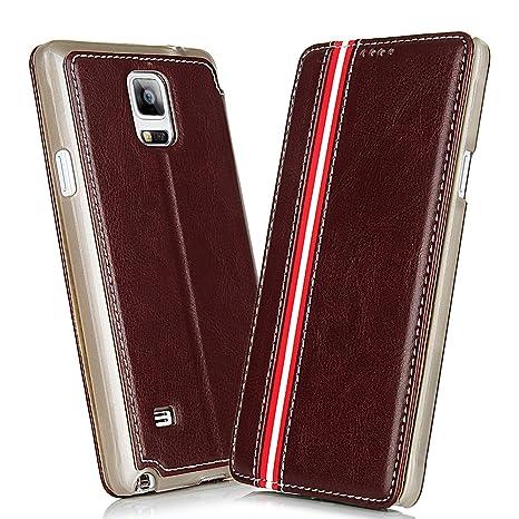 Samsung Galaxy Note 4 Funda - NextMall Funda Cuero Folio Carcasa para Samsung Note 4 Piel Case Cover cierra magnético con Soporte Plegable(Marrón)