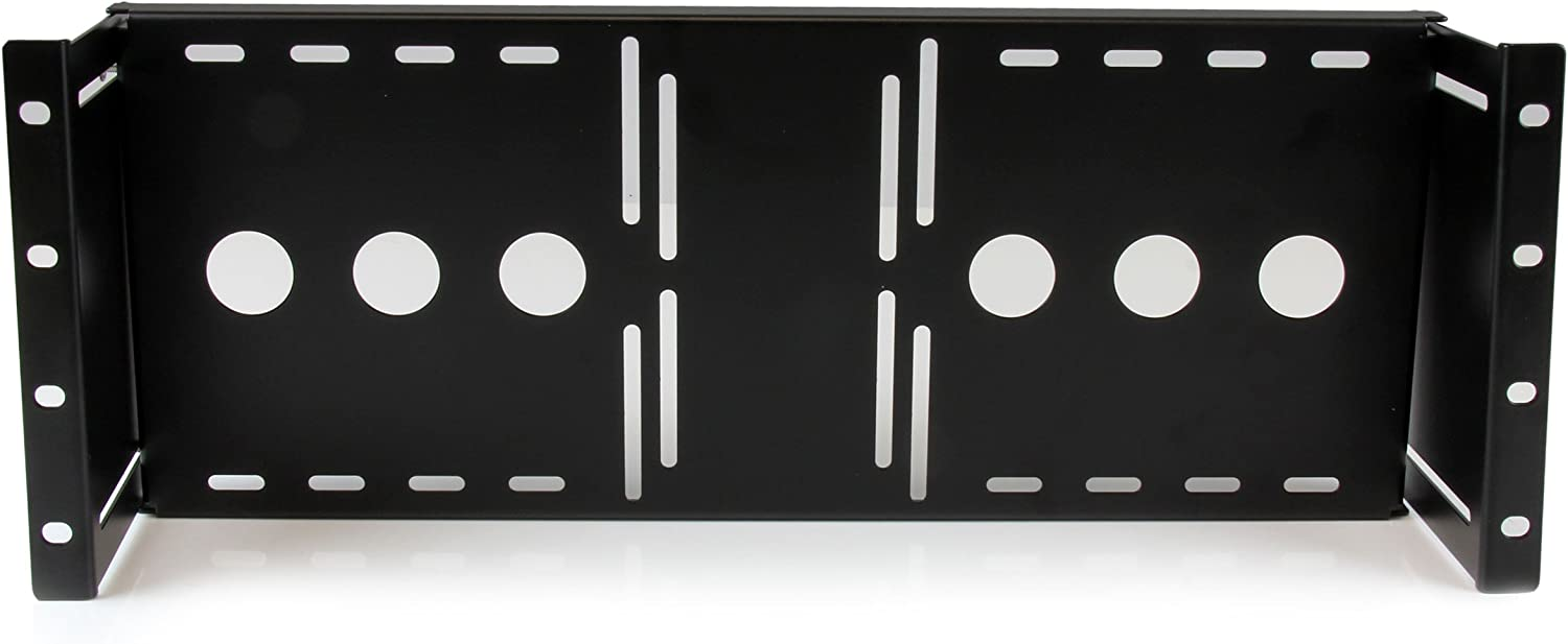 StarTech.com 4U Universal VESA LCD Monitor Mounting Bracket for 19-inch Rack or Cabinet - TAA Compliant - Cold-Pressed Steel Bracket (RKLCDBK), Black