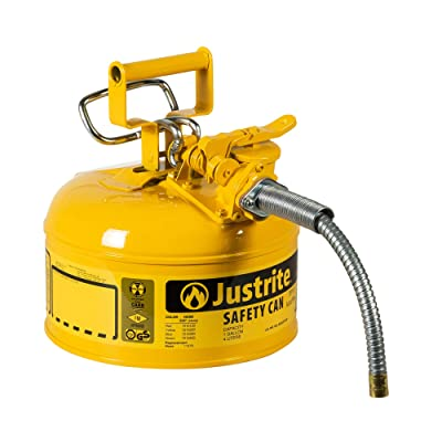 "Justrite 7210220 AccuFlow 1 Gallon, Galvanized Steel Type II Yellow Safety Can With 5/8"" Flexible Spout: Industrial & Scientific"