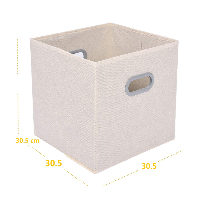 Caja de Almacenaje de Tela Cubo Caja Plegable Cajón Organizador Plegablecon 2 Asas para Hogar, Armario, Cuarto de Niños, 6 pcs, Beige: Amazon.es: Hogar