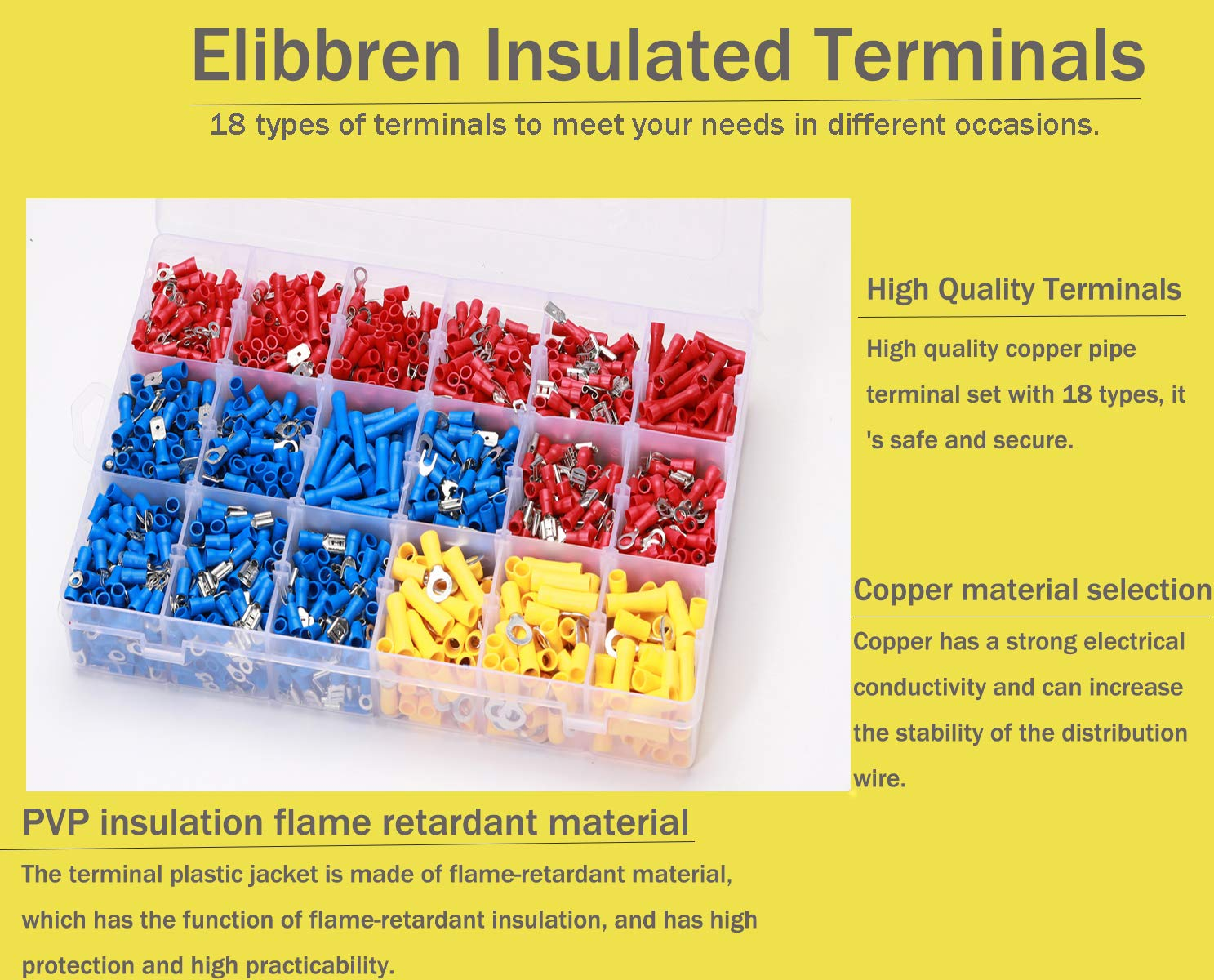 1200PCS Wire Connectors Insulated Electrical Wire Terminals Elibbren Insulated Wiring Terminals Crimp Connector Terminal Assortment Kit for Automotive by Elibbren (Image #3)