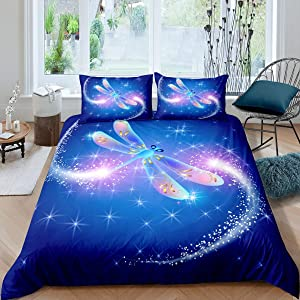 Feelyou Girls Dragonfly Bedding Set for Kids Daughter Blue Galaxy Comforter Cover Chic Ornamental Dragonfly Duvet Cover Room Decor Luxury Colorful Glitter Bedspread Cover Twin Size Bedding Collection