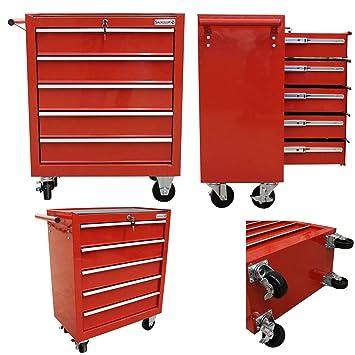 Werkzeugwagen Werkstattwagen Werkzeugschrank 7 Schubladen Rollbar Rollwagen