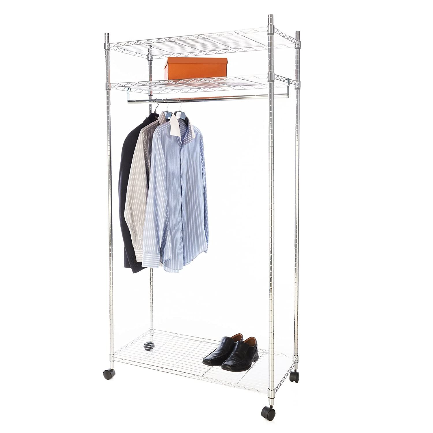Heavy Duty Premium Clothes Rail - Over 100kg Total Capacity - Extra Shelves For Storage - Fast & Easy to Build - Built to Last - Maximum Storage in Minimum Space - Commercial Grade Chromed Steel, Wheels For Easy Movement, Adjustable Shelves For Ultima