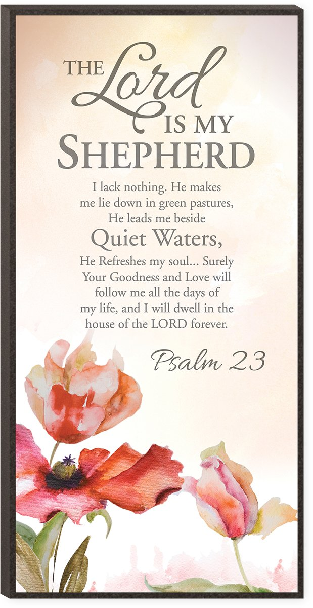 The Lord is My Shepherd Psalm 23 Inspirational Wooden Decorative Wall Art Plaque with Easel Back
