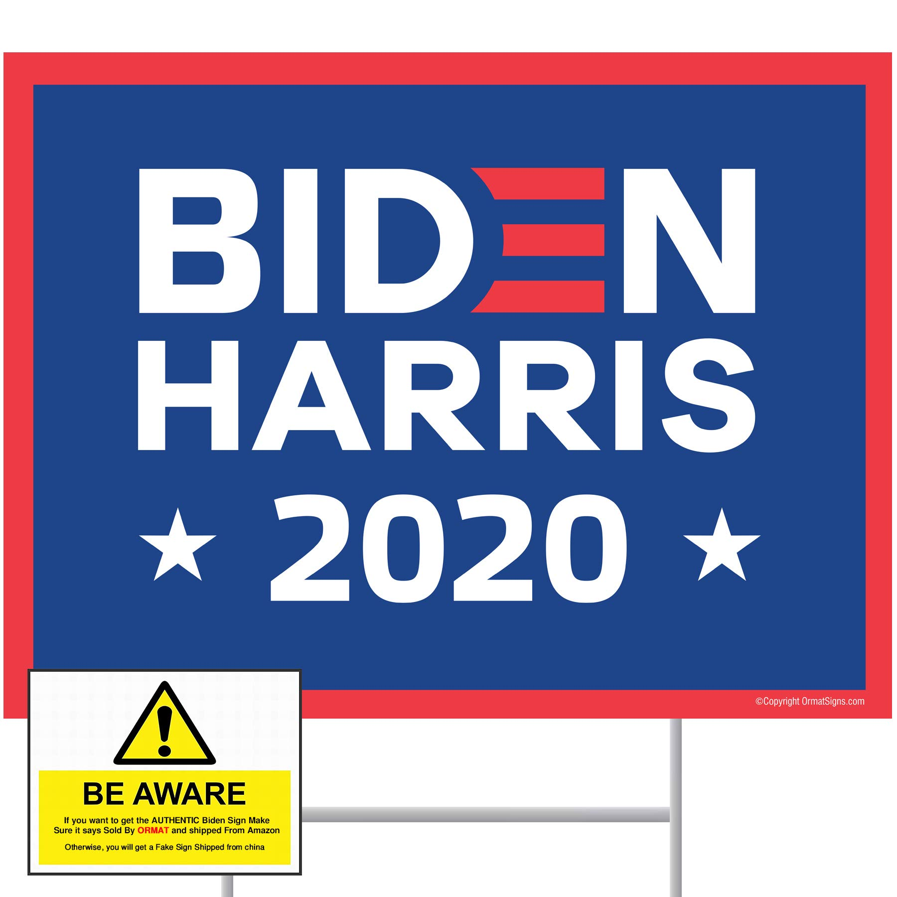"Biden 2020 Biden Yard Sign 24"" x 18"" Corrugated Plastic Joe Biden Harris 2020 Yard Sign with Stakes H-Frame Ground Stake…"