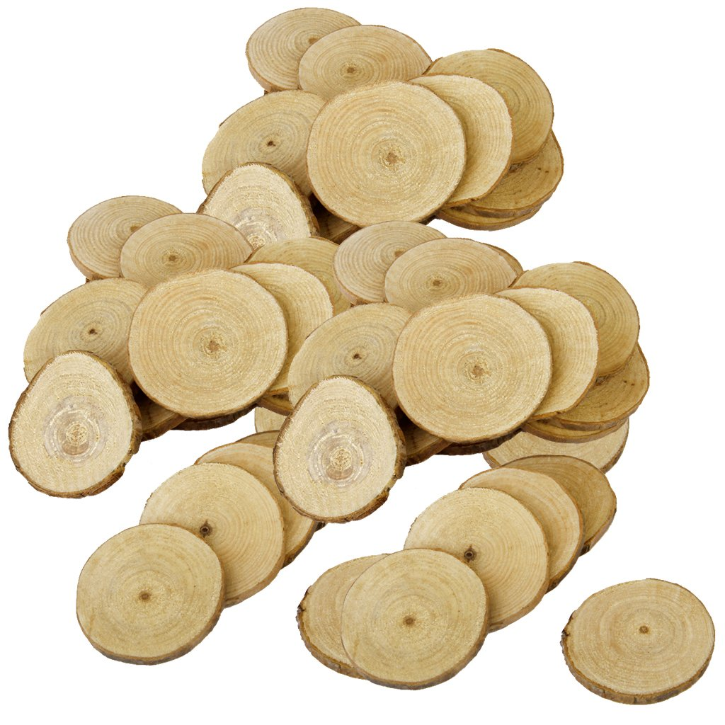 Jili Online 60 Pieces Natural Vintage Wood Wood Tree Pieces for Wedding Decoration Coasters 5-6cm by Jili Online (Image #4)