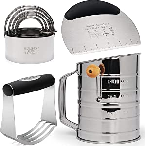 HULISEN Stainless Steel 3 Cup Flour Sifter, Pastry Scraper, Dough Blender & Biscuit Cutter Set, Heavy Duty with Ergonomic Rubber Grip, Professional Baking Dough Tools - 4 Pcs/Set, Gift Package