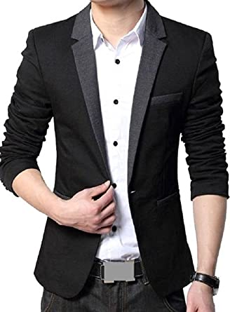 Menjestic Men's Slim Fit Blazer With Grey Lapel Men's Suits & Blazers at amazon