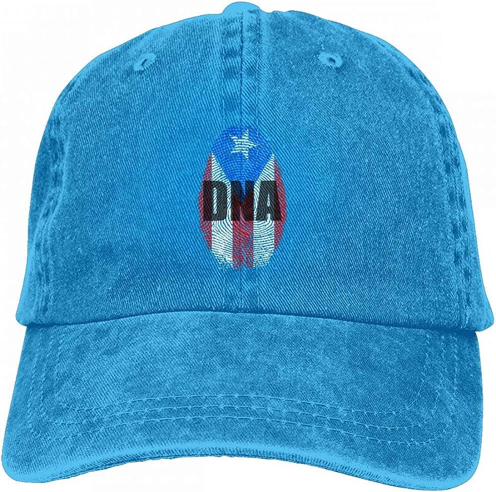 Puerto Rico Its in My DNA Puerto Rico Flag Mens Womens Adjustable Denim Baseball Cap Sun Hat