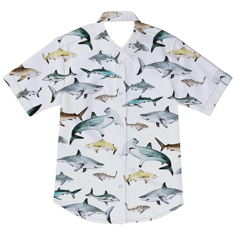AIDEAONE Baby Boys Cartoon Dinosaur Print Shirt Button Down Short Sleeve Shirts Age 2-8